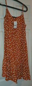 Ladies Summer Dress Rust With White Spots Size 12 - 14