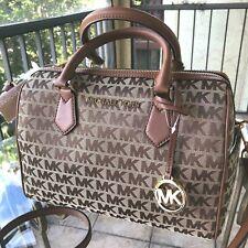 Michael Kors Women Large Jacquard Leather Crossbody Shoulder Handbag Bag Satchel