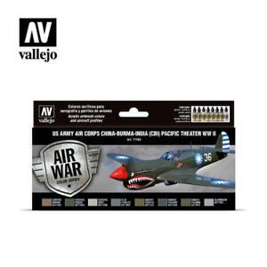 Vallejo 71184 US Army Air Corps CBI Model Air Paint Set (8 Colors) 17ml Bottles