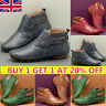 Women's Leather Hand Stitching Arch Support Ankle Boots Flat Heel Dress Shoes UK