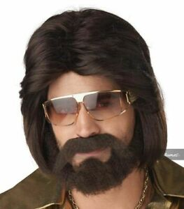 70's Man Wig, Beard And Mustache Costume Set Sexy Bee Gees Gibb Adult Mens Disco