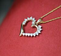 14k Yellow Gold Over Heart Shape Round Cut Diamond Accented Pendant Necklace