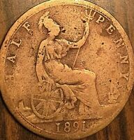 1891 UK GREAT BRITAIN HALF PENNY