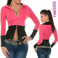 New Sexy Womens Two Way Zip Jacket Size 8 10 Casual Party Hot Stretch Top S / M
