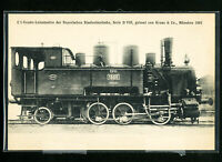 German Early Steam Locomotive Postcard