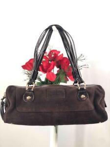 Kate Spade NY Dark Chocolate Brown Suede Baguette Shoulder Bag w. Unique Straps