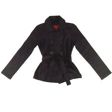 Paris Blues Womens Jacket Size S Black Double Breasted Belted Cropped Coat Small