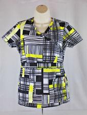 Koi Womens Scrub Top XS Black White Yellow Geometric Uniform Nursing Pockets