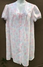 Vtg Sears Just For Women Sz 1X 18W/20W House Robe MuMu Lace Floral Buttons Down