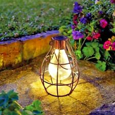 Solar Powered Hanging Copper Lantern Retro Outdoor Decor Light Table Lamp Bulb