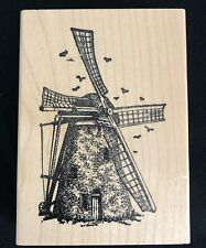 Vintage Dutch Windmill Stamp Wood Mounted Rubber 1998 Holland 3 x 4 Farming New