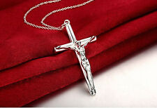 "Mens Womens 925 Sterling Silver Jesus Cross Pendant 18"" Chain Necklace #N76"