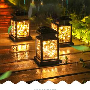 Solar Laterne LED Kerze Flacker-Effekt Lichterkett Solarlampen Gartenleuchten DE