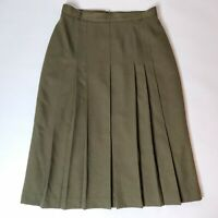 Vintage St Michael Olive Green Khaki Wool Pleated A Line High Rise Skirt Size 16