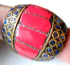 Unikat! Massiver Mosaik-Ring,Koralle/Lapis auf Messing, Gr. 61