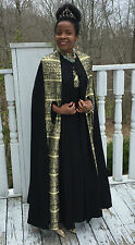 Mint Designer Full Length Black & Gold Cape poncho shawl coat & Dress Gown M 4-9