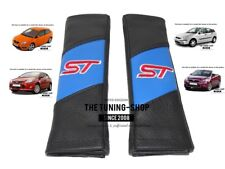 "2x Seat Belt Covers Pads Black & Blue Leather ""ST"" Edition For Ford Focus"