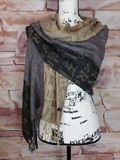 Women's Alphabet Print Brown Taupe Khaki Scarf Wrap Shawl All Season Wear