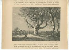 ANTIQUE SCENE IN NORMANDY FRANCE COUNTRY VILLAGE SHEPHERDESS OAK TREE GOAT PRINT