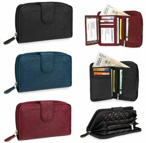 SMALL&LARGE Womens Ladies Leather Look Wallet Zip Round Card Button Clutch Purse