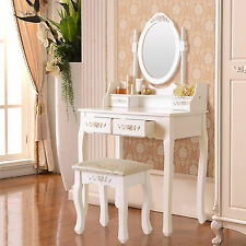 4 Drawer & Oval Mirror Vanity Makeup Dressing Table Set w/Stool Wood Desk White