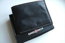 "SWISS GEAR Black Leather Billfold WALLET & BOX ""Makers of Army Knife"" Stitch"