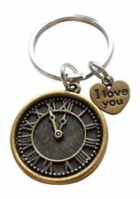 I Love You Heart Charm with Bronze Clock Keychain