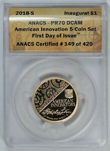 2018 - 2019 ANACS PR 70 DCAM U.S American Innovation 5 Coin Set / $1 Coins