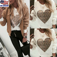 Women Heart Print Long Sleeve Tops Blouse Casual Round Neck Pullover Sweatshirts
