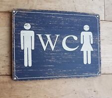 SHABBY CHIC WOODEN WC PLAQUE SIGN TOILET LADIES GENTS RETRO RUSTIC HOME DECOR