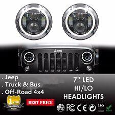 "Pair 7"" Round Angel Eyes Cree Led HALO Headlight For Jeep Wrangler JK/TJ/LJ/CJ"