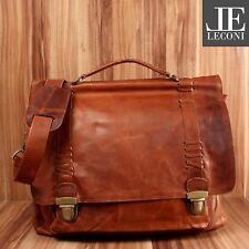LECONI Aktentasche Businesstasche Messenger Bag Vintage Leder braun LE3012-wax