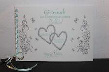 Gästebuch zur Hochzeit , grau - mint