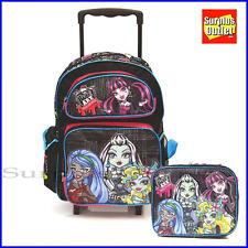 """Monster High 16"""" grandes Escuela Bolso de Almuerzo Mochila Rodante que coinciden con 2 Pc Set"""