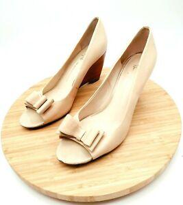 Franco Sarto Womens The Artist Collection Peep Toe Cream Wedge Heels Size 9M