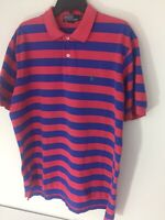 Ralph Lauren Polo XL Mens Blue & Red Stripe Polo Shirt Pique Cotton Pony Logo