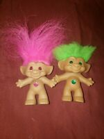 2x VINTAGE Ace Novelty Treasure Troll Doll Wish Stone Belly Button 4.5""