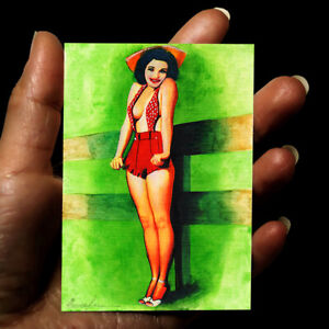 original painting ACEO drawing watercolor Pin-Up art picture woman portrait