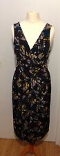 Planet Womens Smart Fitted V Neck Dress Size 10 abstract pattern waist tie