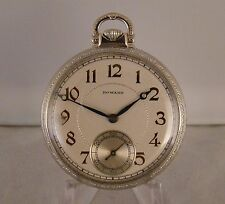 95 YEARS OLD E.HOWARD 14k WHITE GOLD FILLED OPEN FACE GREAT LOOKING POCKET WATCH