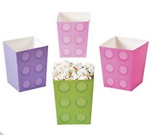 Pack of 12 - Girls Pastel Colours Brick Party Popcorn Boxes  Party Supplies
