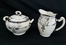 Antique Lenox China  STERLING Silver Overlay cream and sugar