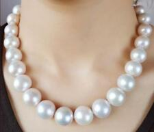 "AAAA18"" 12-15mm Real Natural South Sea White Round Edison pearl necklace 14K"