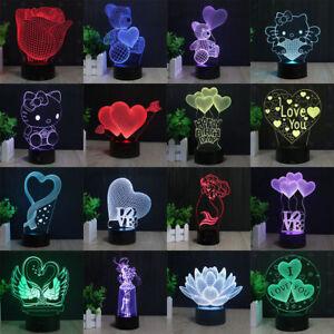 3D LED Romantisch Valentine's Day LOVE Tischlampe Nachtlicht Leselampe 7 Farbe
