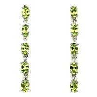 Unheated Oval Green Peridot 6x4mm 925 Sterling Silver Earrings