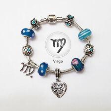 VIRGO Zodiac Silver Blue Murano Teal Rhinestone Heart Charm Bracelet