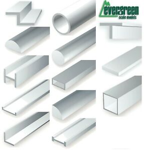 Evergreen Scale Models Styrene Plastic Strip Tubes Angles Rods Scratch Building