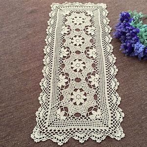 Vintage Cotton Hand Crochet Lace Table Runner Doilies Mats Flower Doily 40x90cm