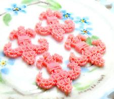 #730 Vintage Cabochons  fleur-de-lis Lily Shabby Pink Japan acrylic Armour NOS
