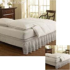 Ruffled Eyelet Bed Skirt Bedroom Decor Queen King Size White 15 x 18 Inch Drop